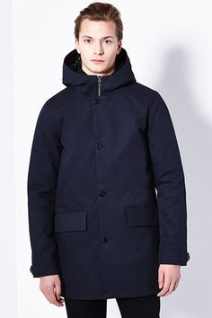 Elof is a hooded coat with an illusionary quilted inner-jacket. Dark Navy, Raincoat, Jackets, Shirts, Men, Shopping, Collection, Fashion, Down Jackets