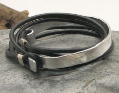 FREE SHIPPING. Men's leather bracelets. Black leather wrap men's bracelet with hammered metal work clasp and spacers.