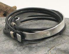 FREE SHIPPING Men's leather bracelets Black leather by eliziatelye, $29.00