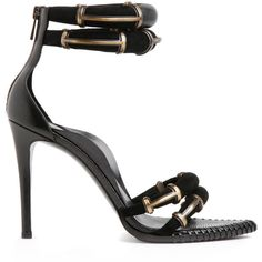 Anthony Vaccarello Black Runway Sandal ($1,140) ❤ liked on Polyvore featuring shoes, sandals, heels, strappy heeled sandals, heeled sandals, ankle strap heel sandals, ankle strap shoes and black heeled sandals