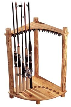 Handcrafted 12 Fishing Rod Storage Corner Rack Solid Pine Sturdy Display Unit