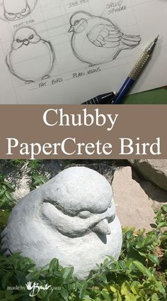Chubby PaperCrete Bird – made by Barb – simple concrete and paper fibre shaped over a wire sphere form 'I am not not artistic, can only draw stick people'. I hear people say that all the time! In my concrete journey I have now expanded to add paper… Cement Art, Concrete Crafts, Concrete Art, Concrete Projects, Concrete Garden, Concrete Planters, Concrete Casting, Concrete Molds, Diy Garden Projects