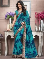 Blue Georgette Printed Saree With Blouse 121140 Floral Print Sarees, Printed Sarees, Indian Beauty Saree, Indian Sarees, Beautiful Saree, Beautiful Dresses, Women Clothing Stores Online, Teal Blue Color, Elegant Saree