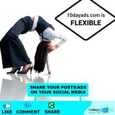 10dayads.com is Flexible. #FreeVideoAdsInUSA #PostFreeClassifiedAds