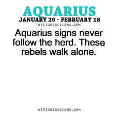 Aquarius signs never follow the herd. These rebels... - fun zodiac ...