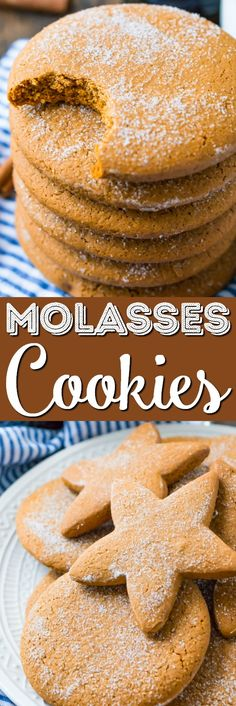 These Molasses Cookies are a simple and old-fashioned dessert recipe made with thick molasses, spices, and sugar. A classic cookies recipe that's actually dairy-free! via @sugarandsoulco
