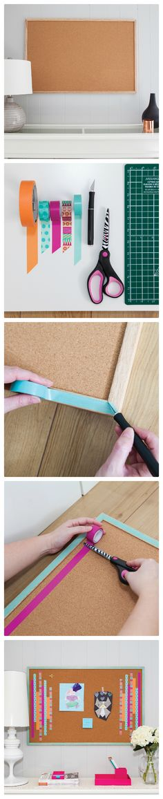 This fun corkboard project can add a pop of colour to any classroom or #homeoffice.  Learn how to create this look at http://blog.scotchtape.ca/blog/beautifully-organized/ Scotch® Brand supplies used: #Scotch® Magic™ #Tape and #WashiTape. #ScotchStyle