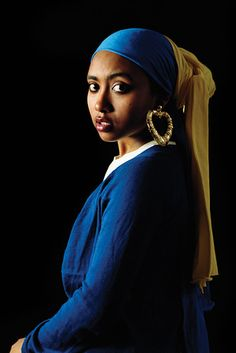 "11 Classic Works Of Art Re-Imagined With People Of Color: Johannes Vermeer's ""Girl With A Pearl Earring"" becomes  Awol Erizku's ""Girl with a Bamboo Earring"""