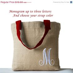 Monogrammed Natural Jute Tote Bag by AmoreBeaute