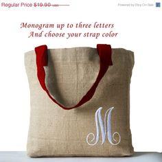 Monogrammed Natural Jute Tote Bag by AmoreBeaute