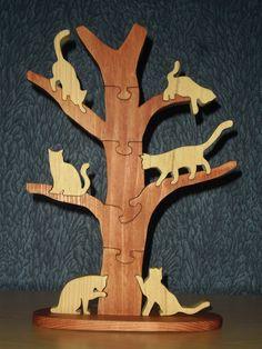 Arbre à chats : puzzle en bois de sapin de 11 pièces