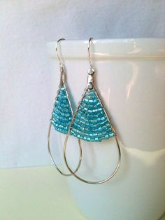 Large Teardrop Hoop with Silver Lined Turquoise Seed Beads