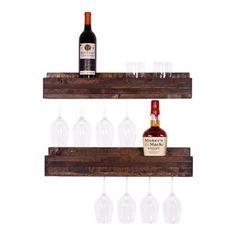 Loon Peak Tristen 5 Bottle Wall Mounted Wine Glass Rack (Set of 2) - Walmart.com