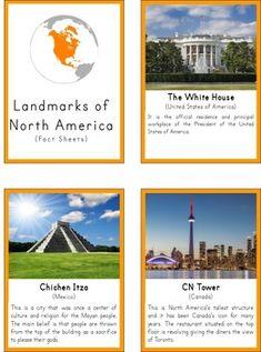 Montessori Landmarks of North America 3 Part Cards