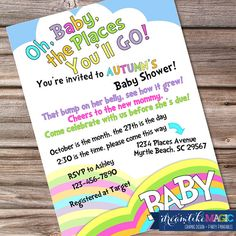 Printable Baby Shower Invitation- Oh The Places Youll Go via Etsy