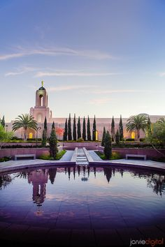 Newport Beach Temple and reflection. Photo courtesy of JarvieDigital.com
