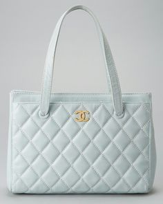 Chanel light blue quilted wild stitch tote
