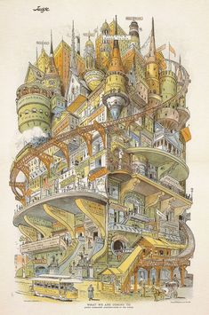Grant Hamilton's illustration of a futuristic city called 'What We Are Coming To' appeared in Judge magazine in 1895. Building 'Imaginary Cities' - CityLab