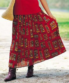 Look at this Red Kokopelli Skirt - Women, Petite & Plus by Le Mieux Hippie Style, Boho Style, Boho Fashion, Womens Fashion, Southwestern Style, Lace Skirt, Style Me, High Waisted Skirt, Street Art