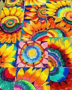 2nd graders are incredible! Beautiful sunflowers made my day! #vincentvangogh #vangoghsunflowers #sunflowers #elementaryart #oilpastels #blickart #teachingart #artteachersofinstagram #artproject #brightcolors