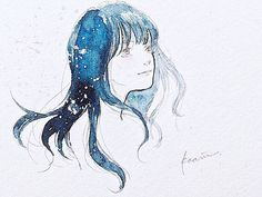 美しい記憶 . #art #artwork #illustration #drawing #girl #watercolor #blue #anime #イラスト #水彩 #女の子 #青
