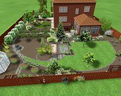 Garden Design Plans, Garden Landscape Design, House Landscape, Patio Design, Side Yard Landscaping, Garden Organization, Farm Layout, Farm Plans, Village House Design
