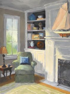 """Daily Paintworks - """"Sun-Drenched Corner"""" by Laurel Daniel  24*18"""