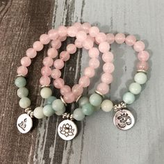 Rose Quartz Lotus zen Lava Stone African Turquoise Crystal Quartz Peace /& Serenity dainty healing bracelet waxed polyester cord
