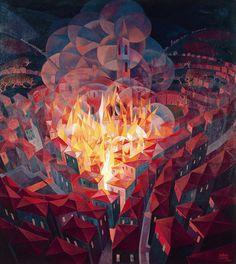 Gerardo Dottori - Burning City (1926)