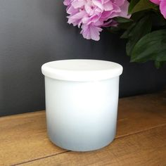 Porcelain jar with modern dip dyed ombre design can be used as a storage jar or as a tea light jar.