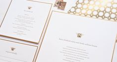 Sugar Paper      Sugar Paper  decided to be original with these sweet honeycomb wedding invitations.