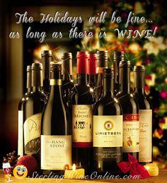 The Holidays will be fine.as long as there is WINE! Sauvignon Blanc, Cabernet Sauvignon, Just Wine, Wine Craft, Wine Quotes, Christmas Wine, Wine List, Pinot Noir, Wine Cellar