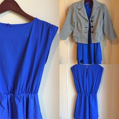 H&M Cobalt Blue Dress Dress accentuates the waistline and the double layered trim gives this dress a day/night look. The back has a small opening and it buttons to the inside of the dress. Fits true to size. H&M Dresses
