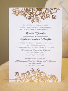 5x7 Announcement, Foil Flowers, Rose Gold Foil, Romantic, Invitation, Script, Wedding Invitation, Rose Gold Wedding