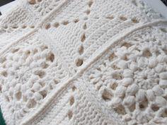 Cream White Granny Square Blanket : Vintage Afghan Crochet. $86.00, via Etsy.