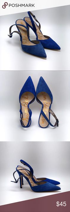 Sam Edelman Dora suede slingback heels Beautiful cobalt blue suede heels! Pointy toe, sling back style with adjustable strap.   Great condition! Size 6.5 Sam Edelman Shoes Sandals
