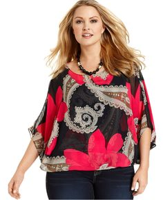 style plus size top, batwing sleeve printed - plus size tops