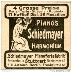 Original-Werbung/Anzeige 1914 - PIANOS / HARMONIUM - SCHIEDMAYER PIANOFORTEFABRIK STUTTGART - ca. 45 x 45 mm