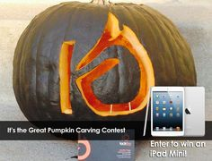 Halloween pumpkin carving contest. Carve a pumpkin with your brand or logo and enter to win an iPad Mini! Learn how. #halloween #contest #pumpkin carving