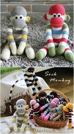 Sewing Animals Projects Easy tutorials for sock animals More - You remember those old fashioned sock puppets from when you were a kid, right? I've collected 25 of the most adorable and easy to make puppet animals that you can create for your own kids Sock Monkey Crafts, Sock Crafts, Diy And Crafts Sewing, Sewing Projects, Easy Projects, Sock Animals, Crochet Animals, Diy Sock Toys, Sock Monkey Pattern