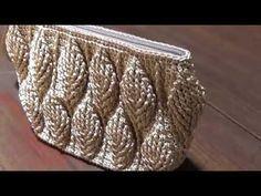 Crochet || jar's cover 3D leaf - YouTube Gilet Crochet, Free Crochet Bag, Crochet Clutch, Crochet Motifs, Crochet Handbags, Crochet Purses, Crochet Stitches, Crochet Jar Covers, Confection Au Crochet