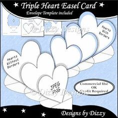 Triple Heart Easel Card Template - Click Image to Close Fun Fold Cards, Folded Cards, Rakhi Cards, Homemade Birthday Cards, Step Cards, Butterfly Cards, Paper Butterflies, Card Making Tutorials, Easel Cards