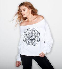 Black Mandala White Sweatshirt