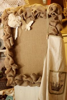 Burlap Cork Board...would be easy to make!