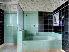 Mid Century Retro Bathroom Unspoilt Vintage Interior Decor Green And Black