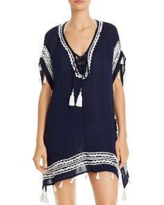 Surf Gypsy Zigzag-Trim Tunic Swim Cover-Up | Bloomingdale's