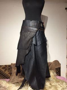 Leather Skirt Black S-L Man Jon Snow Woman Medieval von Elbengard