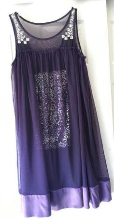 Alberto-Makali-Purple-Mesh-Sequin-Purple-Shift-Dress-Rhinestones-SZ-10