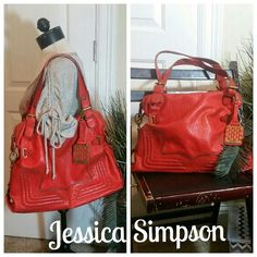 ✳BOGO Jessica Simpson Coral Signature Purse Bag ✳Everything in my closet is BOGO HALF OFF. See closet sale listing for rules.✳  This beautiful handbag/purse is in great used condition. It has a few small spots (most are white) of discoloration from unknown origins. You really have to look to see them. On the handles, there are some spots on the edges where the leather rubbed off, but it's not that noticeable. This bag is L-XL in size. Please ask if you need measurements. I believe it's made…