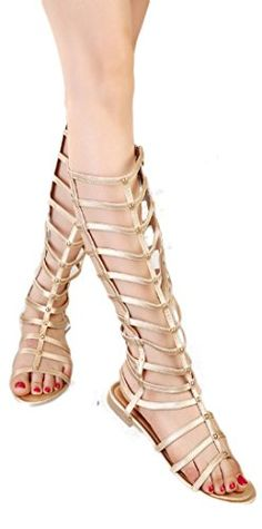 5d8486084b6c YABINA Knee High Gladiator Sandals H86 Black Beige Knee Leather 35 BMUS  Gold